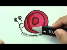 How to draw: Easy Snail (Doodle a Day Series - 005) - DrawCartoonsEasy [HD]