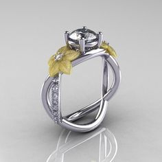 Nature Classic 18K TwoTone Gold 1.0 CT White by artmasters on Etsy, $1,249.00