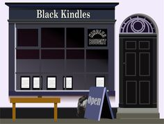 Black Books, Black Kindles, Second hand book store that sells Kindles.