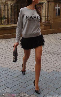 fancy skirt and sweatshirt:)