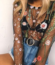 Sexy Flower Embroidery Gauze Long Sleeve Tight Shirt Top Tee