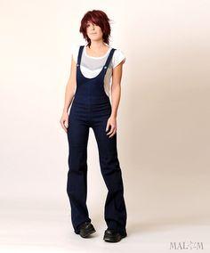 Blue women's overalls in denim - stretchy dark blue jean - OOAK