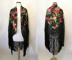 Gorgeous 1920's Floral Print Silk Shawl with Long by wearitagain