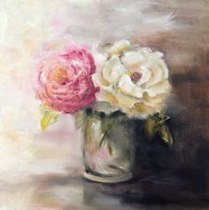 """""""Rose Duet"""" is an original oil painting by artist Julia Watson. Two contrasting roses vie for attention in this charming still life. Mostly neutral in color, the painting features one colorful pink ro"""