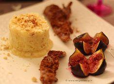 Recette champagne - Aiguillettes de canard panées au pain d'épices, figues rôties au miel et écrasé de pommes de terre aux noisettes