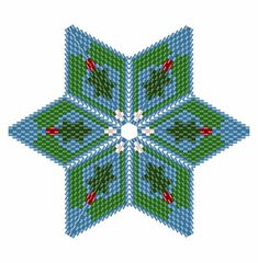 Holly and Mistletoe Star 2, Geometric Beading Pattern or Tutorial This is an intermediate to advanced pattern for those that know how to make a warped square and join them into a star. Perfect for your Christmas Tree Make your own beautiful piece of art from 11/0 delicas. This is a