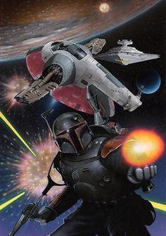 star wars - boba fett and slave 1