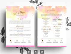 Yellow and Pink Resmu Template PSD by Emily's ART Boutique  on Creative Market