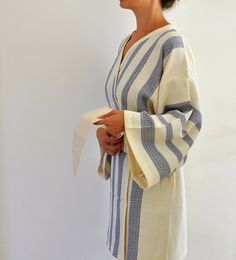 Kimono Robe Cotton Bath Robe Turkish Bath Towel Peshtemal Caftan Eco Friendly Extra Soft Dark Blue Sapphire Marine