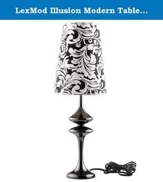 "LexMod Illusion Modern Table Lamp, Black. Make your way to a sensory experience filled with cognitive delights. Illusion both stands out and blends with your surroundings in a surreptitious display of design and style. Crafted from a pearl black body made of iron and a black and white floral damask patterned shade, Illusion will bring a sense of wonderment to your home.Set Includes: One - Illusion Modern Table Lamp Product Dimensions: Overall Product Dimensions: 8""L x 8""W x 22.5""HBody..."
