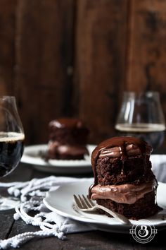 Mini Triple Chocolate Stout Cakes For Two (or four) from TheBeeroness.com