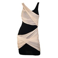 Black and Nude Shelly Crossover Drape Dress