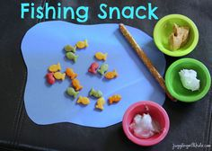 I found this cute snack idea for the little ones on Stacyjulian.com.  It's super simple and lots of fun for the kids. Supplies: Blue construction paper Scissors Small containers or little cup…