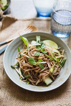 Purslane and Soba Noodle Salad | FoodforMyFamily.com {recipe}
