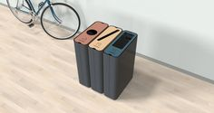 Green Furniture Concept | Radius Recycle Bin | Recycle bins that stay in place and are easy to empty. The bins connect to each other as many as desired for recycling.