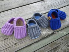Lazy Day Baby Loafers. Crochet MADE TO ORDER Gender Neutral. Knit-Look Baby Booties with Working Button on Side for Easy On & Off by SugarMamaShop (Sugar Mama's Sweet Bowtique)