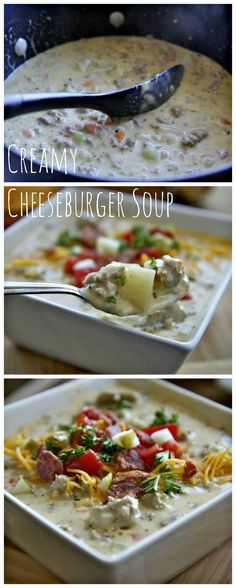 Creamy Cheeseburger So up - no flour Beef Recipes, Soup Recipes, Dinner Recipes, Cooking Recipes, Healthy Recipes, Recipies, I Love Food, Good Food, Cheeseburger Soup