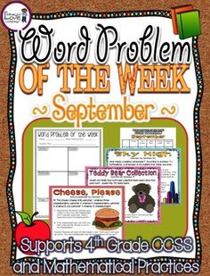 Looking for a way to support your students understanding and application of MATHEMATICAL PRACTICES in just minutes a day?  Welcome to Word Problem of the Week!  September's Bundle. $ - Literacy Loves Company