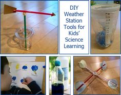 Homemade Weather Science Tools for Kids - Preschool to Early Elementary. DIY weather vane, anemometer, rain gauge, and thermometer, made from household items and recycling. Preschool Weather, Weather Science, Preschool Science, Science For Kids, Science Fun, Science Ideas, Elementary Science, Earth Science, Science Nature