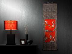「xces」ブランドのアンティーク着物で作った掛軸です。 モダンインテリアコーディネイトのイメージヴィジュアルです。 www.facebook.com/xces.co.jp   #モダンインテリア #アンティーク着物 #ヴィンテージ #掛軸 #タペストリー #和モダン #日本文化 #伝統と革新 #名物裂 #今昔西村 Japanese Style, Vintage Japanese, Clever Design, Velvet Ribbon, Decoration, Wall Lights, Kimono, Cushions, Diy Projects