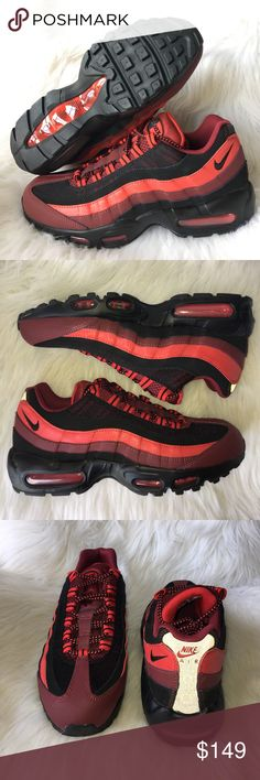 🆕 Nike Air Max 95 men's size 9 bred BRAND NEW no box pair of Nike Air Max 95 Men's Shoes Red University Red Black Bred 95 Size 9. ALL MY ITEMS ARE 100% AUTHENTIC. 🚫NO TRADES, NO HOLDS, NO LOW OFFERS!🚫 PLEASE USE THE OFFER BUTTON‼️ I WILL NOT RESPOND TO OFFERS OR HOW LOW I WILL GO IN THE COMMENTS SECTION‼️ Brand new. No box. Nike Shoes Sneakers