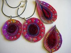 brooches, felt, embroidery