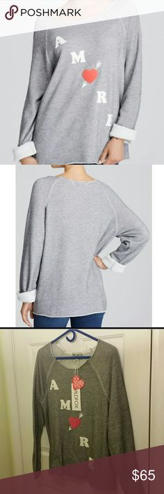 WILDFOX amore grey sweatshirt Band new with tags, incredibly soft. It's sized as an XS to have the baggy loose look as the model shows. I think it can easily be a medium to large if your looking for a tighter fit. Wildfox Tops Sweatshirts & Hoodies
