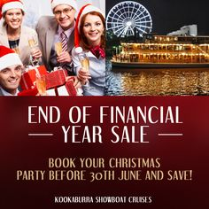 Early Bird Special - Book your Exclusive Christmas Party before June and receive free pre-dinner canapes and a welcome cocktail for your group! Visit the specials page on our website for more great deals! Brisbane River, Show Boat, Early Bird, Canapes, Upcoming Events, Cruises, Corporate Events, 30th, Cocktails