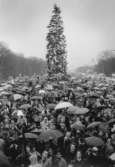 Berlin, Grenzöffnung 1989, MenschenmengeBerlin, nach Öffnung der DDR-Grenzen zu 9./10. November 1989.  Weihnachten am Brandenburger Tor: Menschenmenge auf der Straße des 17. Juni.
