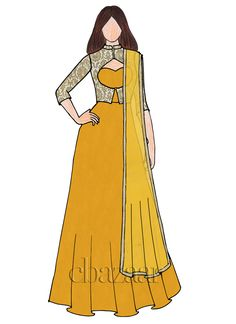 Shop EthnoVogue Custom Made Yellow Anarakali Suit Dress Design Drawing, Dress Design Sketches, Fashion Design Sketchbook, Fashion Design Drawings, Fashion Sketches, Fashion Drawing Dresses, Fashion Illustration Dresses, Fashion Dresses, Fashion Figures