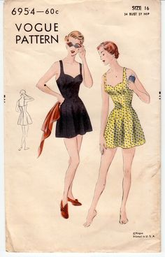 Vintage Sewing Pattern 1950's Ladies' One-Piece Bathing Suit Vogue 6954 for sale at mrsdepew.com.