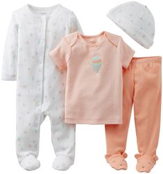 Carter's Baby Girls' 4 Piece Layette Set (Baby) - White - Pink - 6 Months *** Find out more details by clicking the image : Baby clothes