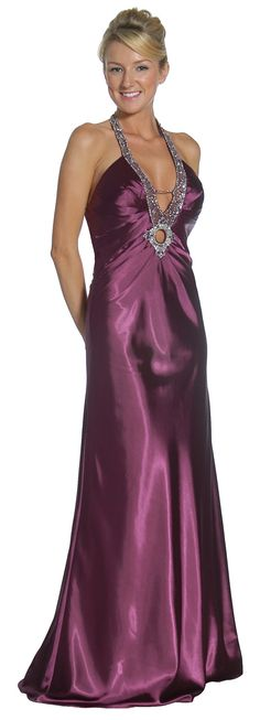 Sexy Purple Formal Evening Dress Long V Neck Long Satin Dress $149.99