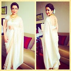There is no one who can carry a saree as gracefully as Madhuri Dixit-Nene, and how glad I'm a to see the lovely Tisca Chopra not at one but two events donning a saree, with the same grace I find in Madhuri. Look 1: Present at the Independence day Lavasa Freedom 2014 event, Tisca opted for a navy saree by AM: PM for Ankur Modi and Priyanka Modi. Loved the color and specially the perforated blouse, it gives it the extra x-factor. Perfectly paired with Curio Cottage earrings, pale pink lips and…