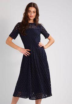 IVY & OAK Sukienka letnia - midnight blue - Zalando.pl Short Sleeve Dresses, Dresses With Sleeves, Midnight Blue, Ivy, Bridesmaids, Cold Shoulder Dress, Fashion, Moda, Sleeve Dresses