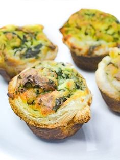 These mini quiches are sure to please. The tartness of the spinach combined with the creamy sweetness of ricotta cheese make these a truly irresistible appetizer for any party or just an afternoon snack! Enjoy three for yourself and share the. Healthy Afternoon Snacks, Healthy Snacks, Healthy Recipes, Fun Recipes, Eating Healthy, Healthy Living, Mini Quiches, Spinach Ricotta, Fitness Foods