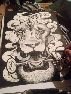 Lion sketch cross hatch illustration Work by Mr nayf king