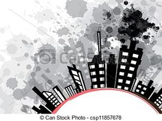 Vectors Illustration of abstract urban design with black ink ...
