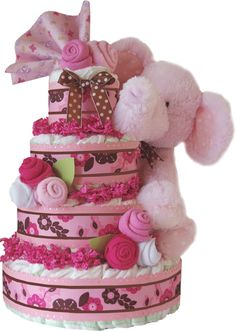 ... Modern Girl Damask Pink Flower Diaper Cake Centerpiece Brookes Picture
