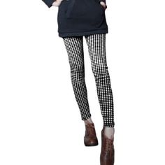 Allegra K Ladies Mid Rise Stretchy Skinny Fleece Inner Trendy Leggings Black White XS Allegra K. $11.07