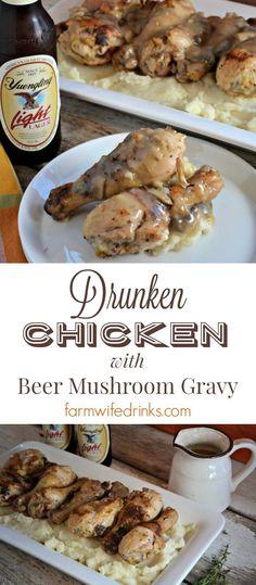Drunken Chicken is a beer marinaded, crispy chicken recipe with a beer mushroom gravy that everyone will love.