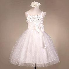 A Linha de Spaghetti tiras de tule casamento / / noite vestido da menina flor de cetim – BRL R$ 149,97