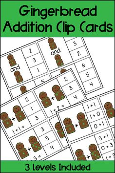 These Gingerbread Addition Clip Cards provide a fun and differentiated math center for your students! Your students can use dice and math equations to practice addition facts. Three levels of cards are provided to help you differentiate for your students needs, as well as many different options for recording sheets. Use in math centers or small groups for your Kindergarten, First Grade, or Second Grade students. Common Core standards are included as well as a black and white printable version.