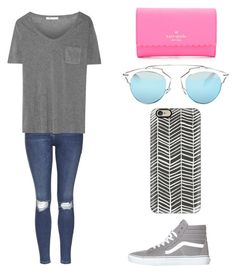 """""""Untitled #915"""" by qveenkyndall16 ❤ liked on Polyvore featuring Kate Spade, Topshop, T By Alexander Wang, Christian Dior, Casetify and Vans"""