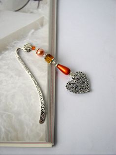 ENGRAVED SILVER BOOKMARK -  Page  Beaded Book Mark , Metal bookmark, Gift for her