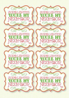 Christmas PRINTABLE Party 'Soda Delighted You're My by lovetheday Christmas Fair Ideas, Kids Christmas, Christmas Crafts, Etsy Christmas, Christmas Birthday, 30th Birthday, Birthday Ideas, Neighbor Christmas Gifts, Neighbor Gifts