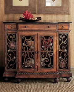 Tuscan Decor typically will incorporate hard wood furniture.  Dark Tuscan furniture suits Tuscan decor appropriately.