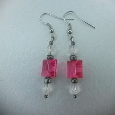 Earrings Home made pink gray and clear earrings Jewelry Earrings