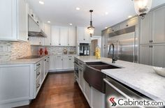 Gorgeous gray color on the base cabinets and kitchen island - Belleair Maple Willow Gray with a Brushed Gray Glaze Grey Kitchen Cabinets, Painting Kitchen Cabinets, White Cabinets, Diy Kitchen, Kitchen Design, Kitchen Ideas, Base Cabinets, Kitchen Island, Discount Cabinets