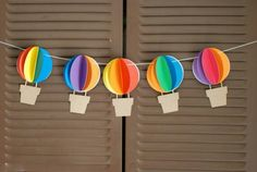 Hot Air Balloon Banner - Up Up and Away - Rainbow - Circus - - baby shower, birthday party, nursery decor - custom colors available Decoration Creche, Diy Decoration, Decorations, Diy Paper, Paper Crafts, Unique Party Themes, Party Ideas, Diy And Crafts, Crafts For Kids